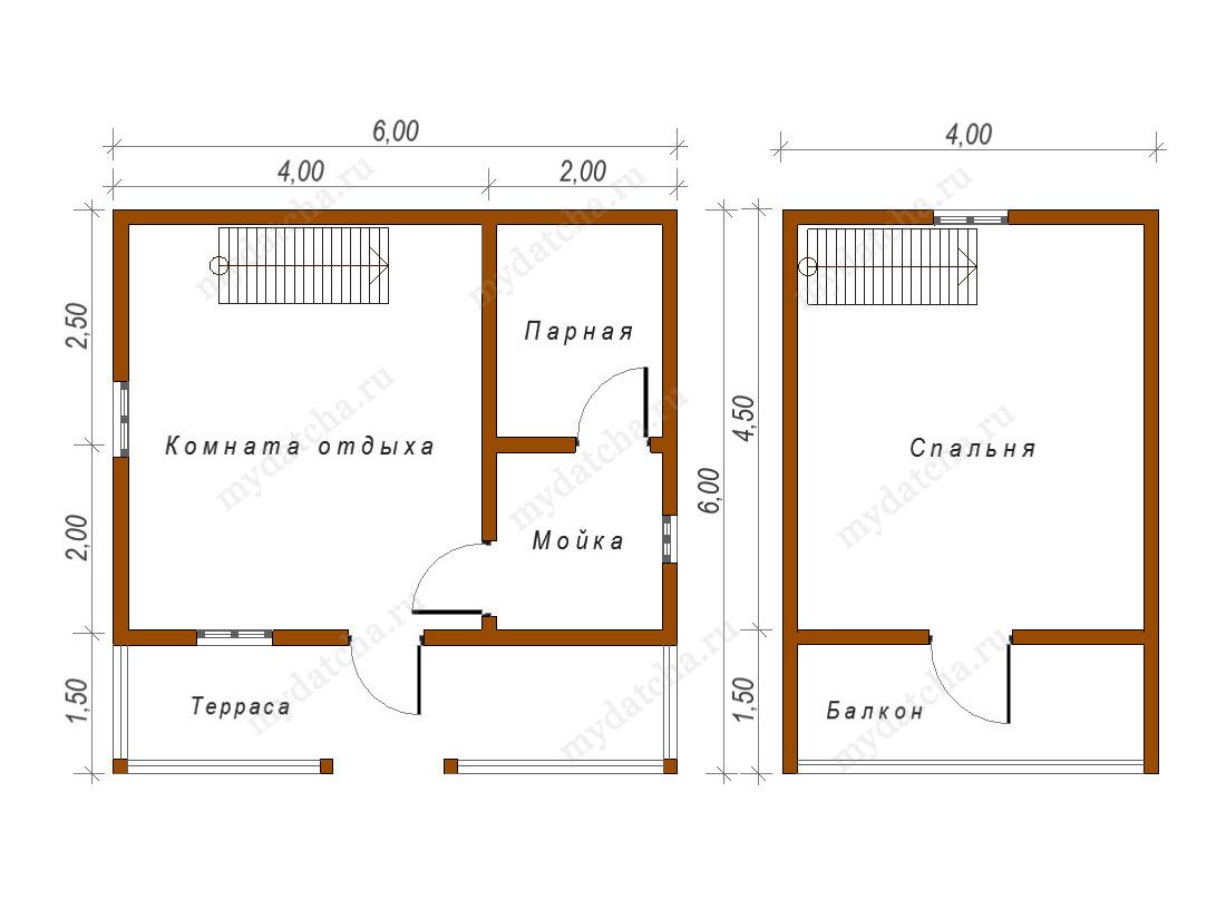 План бани из бруса 6х6